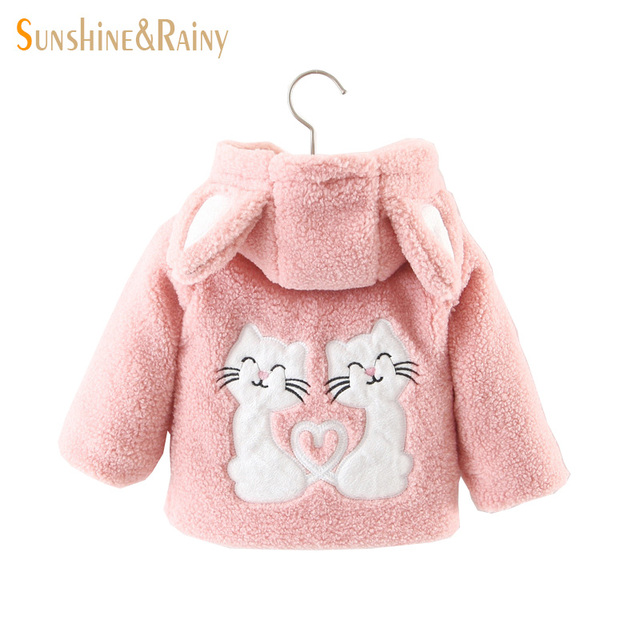 f8200300c4fc Clearance ~ Winter Toddler Girls Jackets Cute Cat Baby Girl Lamb Fur ...