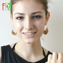 Fj4z личные увеличенные металлические женские серьги с блестящими