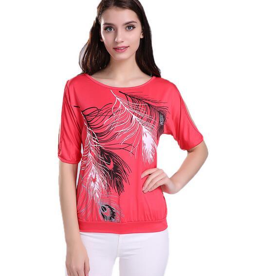 HTB1r04fQFXXXXXOXpXXq6xXFXXXs - Summer Women Feather Printed T-shirts O- neck Strapless Shirts Off Shoulder