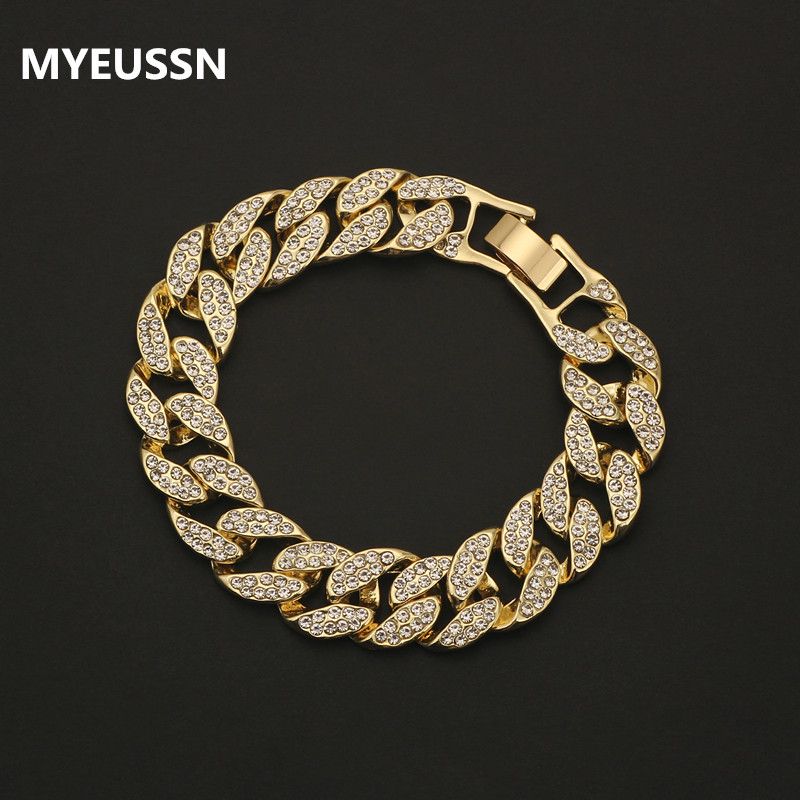 Rhinestone Cuban bracelet Iced Out link chain For Men Hip Hop Paved CZ Rapper luxur bracelet