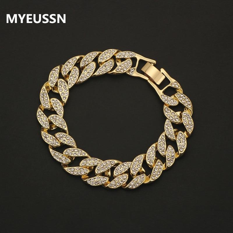 Rhinestone Cuban bracelet Iced Out link chain For Men Hip Hop Paved CZ Rapper luxur bracelet Jewelry accessories gift