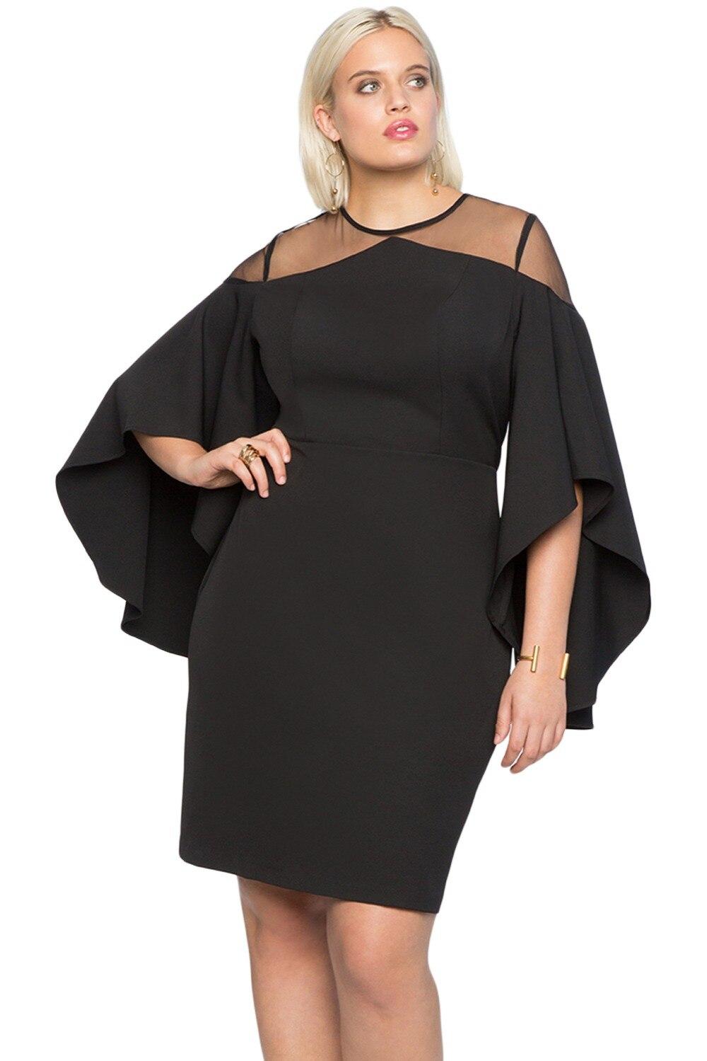 Black-Mesh-Illusion-Cold-Shoulder-Plus-Size-Dress-LC220395-2-1
