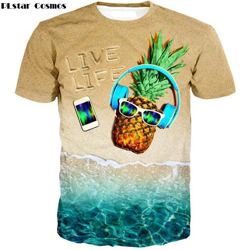 Plstar Космос 2017 летние новые модные унисекс для взрослых наслаждаться Live Life футболка милое пляжное музыка ананас печать 3D Hipster футболка