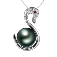 LOVE OF SWAN 9 10mm Tihitian Natural Black Pearl 18K White Gold Pendant Necklace