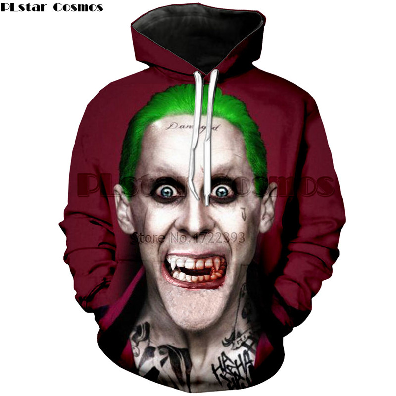 PLstar Cosmos Unisex 3D Printing Hoodies Men/Women Casual Tracksuits The Joker Suicide Squad Printed Hoodie Clown Sweatshirts