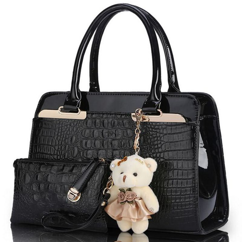 New brand women bag with bear shoulder bags +purse ladies designer handbag high quality pu leather tote bag
