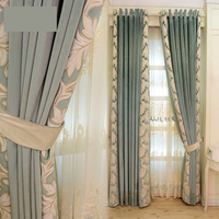 embroidered simple modern high grade lace curtain Mediterranean living room curtain sheer tulle E151
