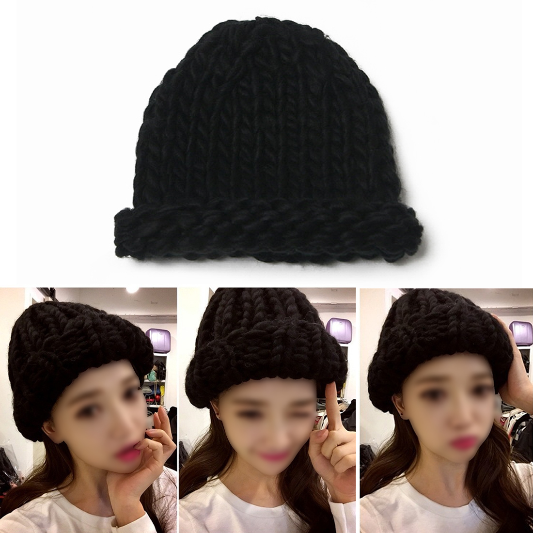 New Women Winter Warm Hat Handmade Knitted Coarse Lines Cable Hats Knit Cap Beanie Crochet Caps Women Accessories new 2016 winter hat for women bonnets knitted wool caps shag line warm hat multicolor coarse lines skullies beanie hat wh007 a m