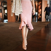 ORDEESON Printemps Rose Noir Ruches Trompette Midi Jupe Mode Coréenne Taille Haute Jupe Femmes Jupe de Velours Vintage Solide Occasionnel