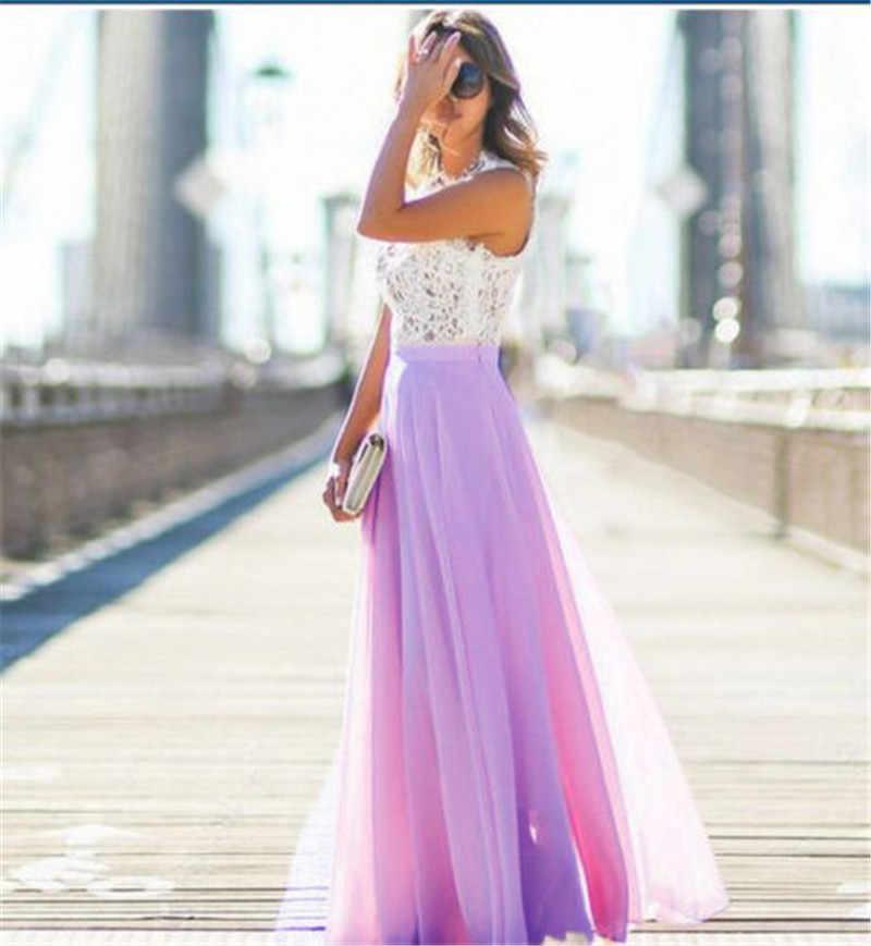 Для женщин элегантные без рукавов Кружево шифоновое летнее платье Высокая талия Формальные Свадебные Длинные Макси платье Вечеринка бальное платье женское платье