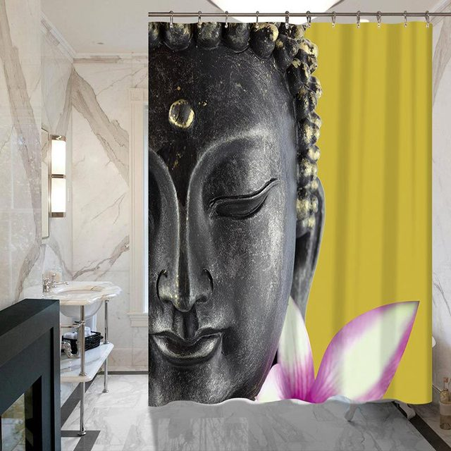 Buddha Shower Curtains Waterproof Polyester Fabric Bathroom Curtain With Hooks Cortina For Home Decor