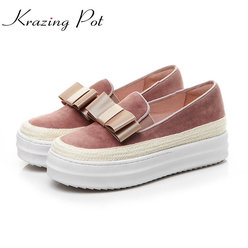 Krazing Pot cow suede bowtie slip on superstar round toe platform causal fairy decoration gladiator Female vulcanized shoes L88 krazing pot empty after shallow shoes woman lace work flats pointed toe slip on sheep suede causal summer outside slippers l16