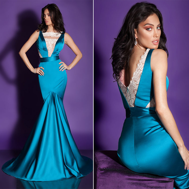 Teal Turquoise Mermaid Sexy Backless Prom Dress Muslim Arabic 2016 ...