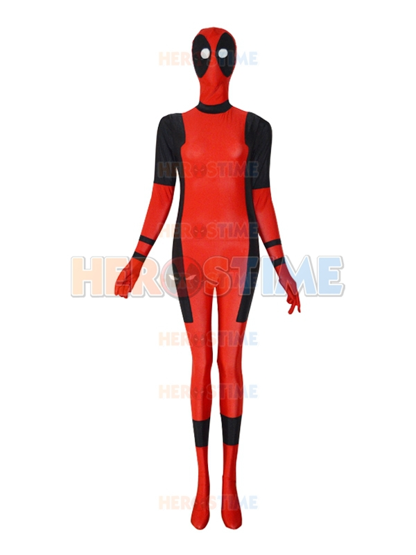 Free shipping Female Style Sector Eyes Deadpool Superhero Costume the most classic halloween cosplay spandex Deadpool costume