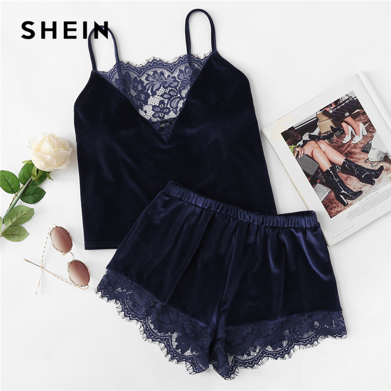 SHEIN Navy Lace Trim Velvet Cami & Shorts PJ Set Sexy Spaghetti Strap Sleeveless Sleepwear Women Stretchy Summer Pajamas Set