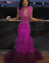 Purple High Neck Mermaid Prom Dresses 2019 Black Girls Lace Appliques Beads Formal African Evening Gowns