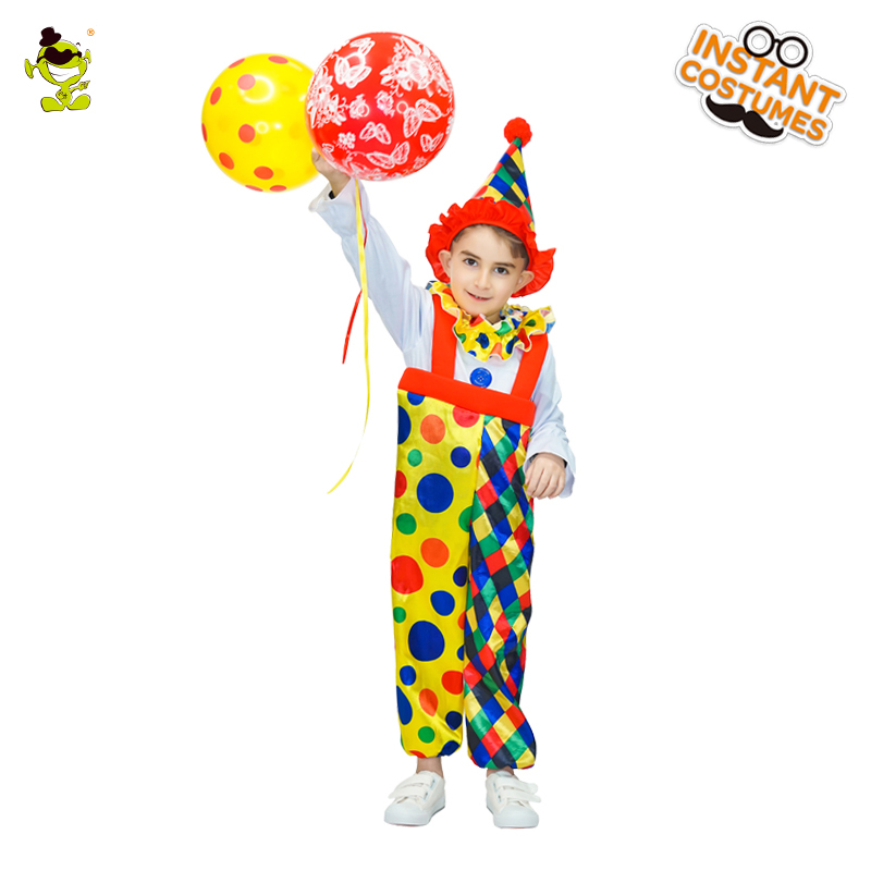 Boys Colorful Dot Clown Costumes Kids Purim Holiday Buffon Fancy Dress Funny Commedy Peoson Role Play Suits for Masquerade