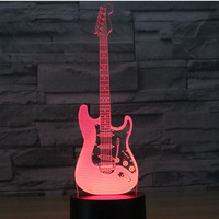 3D LED Night Light Electric Guitar With 7 Colors Light For Home Decoration Lamp Amazing Visualization