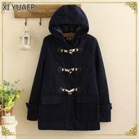 XI YUAER Duffle Coat Long Turn Down Horn Button Hooded Collar Woolen Overcoat Wide Waisted manteau femme Out Wear winter coats