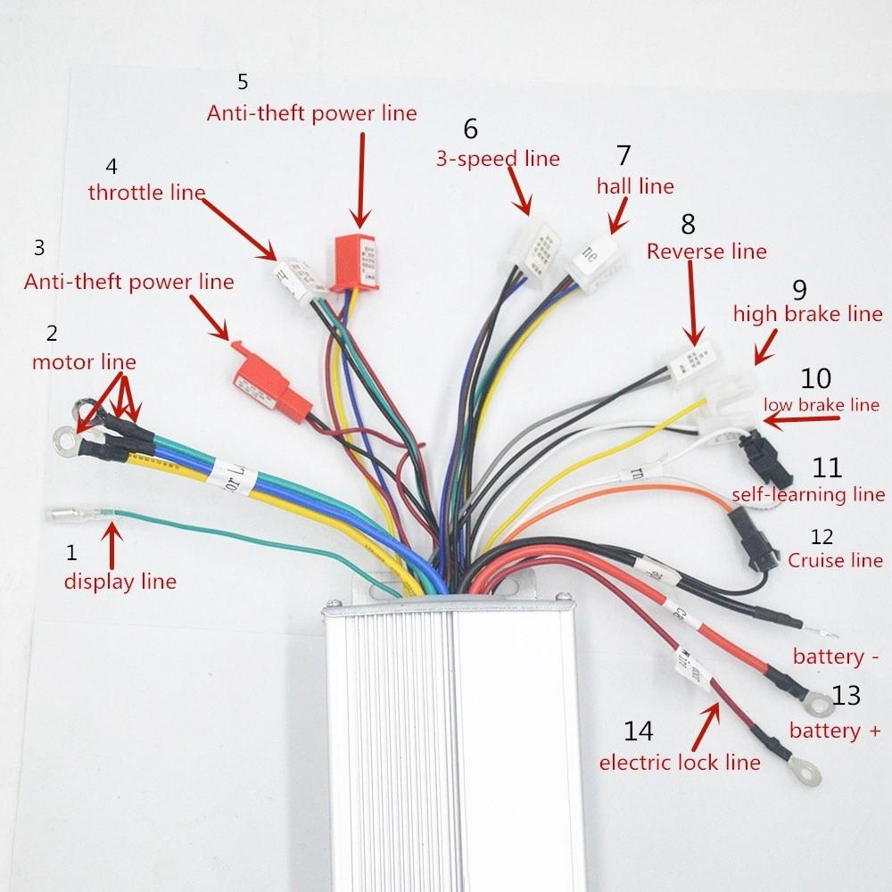 48v 60v 64v 1000w Ebike Controller Box With Reverse For
