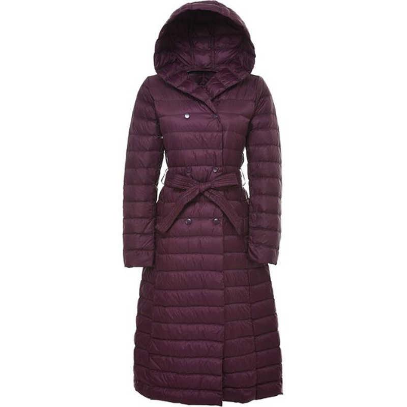 SEDUTMO зимние женские куртки плюс размер 3XL ультра легкий пуховик Doat длинная куртка-пуховик черные парки ED048