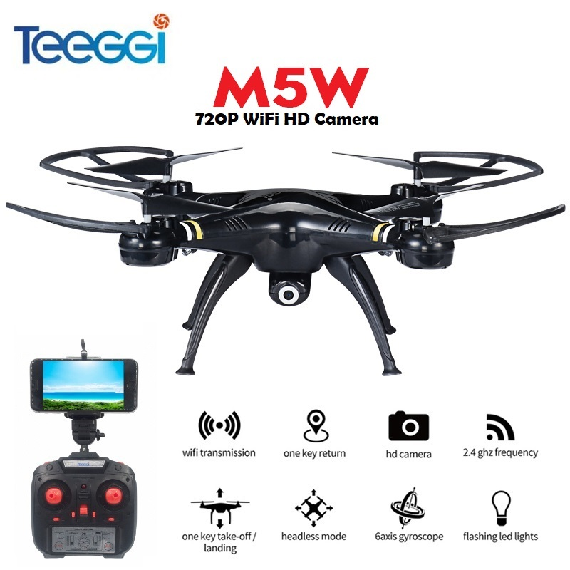 Teeggi M5W RC Quadcopter With Camera WiFi FPV 720P HD Altitude Hold One Key Take Off RC Drone Helicopter VS X5SW X5HW Dron