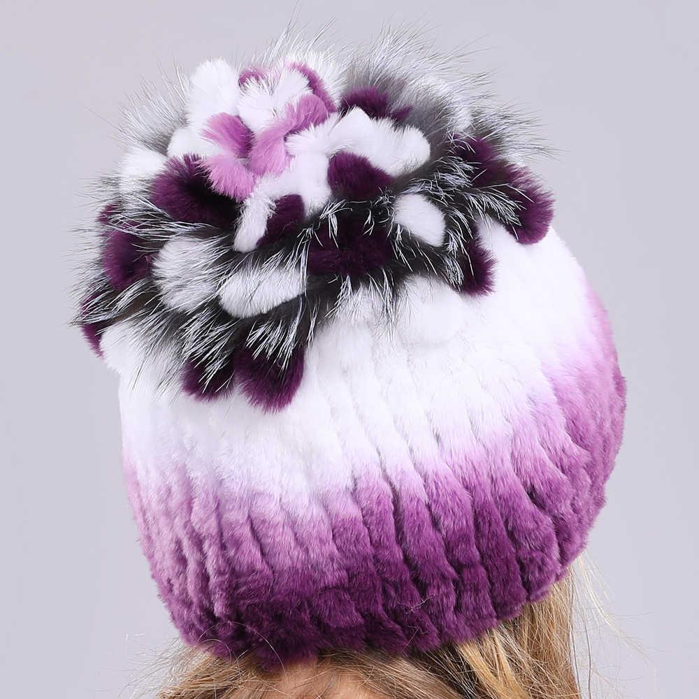 ฤดูหนาวถักผู้หญิง 100% จริง Rex กระต่ายหมวกขนสัตว์ TOP Fox FUR ดอกไม้หมวก Lady นุ่มของแท้ Rex กระต่ายขนสัตว์ Beanies หมวก