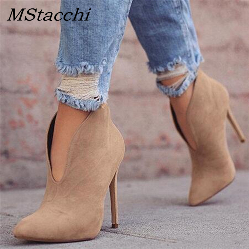 MStacchi Ladies New High Heel Boots V-Neck Simple Style Party Prom Casual Shoes Solid Pointed Toe Thin High Heels Shoes Woman