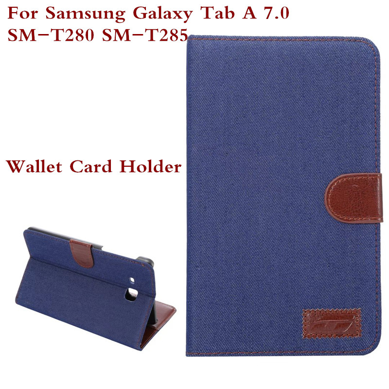 Wallet Card Holder Design Case Cover For Samsung Galaxy Tab A 7.0 T280 T285 Cowboy Jeans Denim Shell For SM-T280 SM T285 + Pen