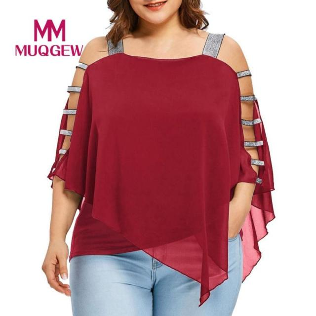 Plus Size Summer Women Off-the-shoulder irregular Tee top T-Shirt Sexy For Women Chiffon Fashion Hollow Out Cut Out Tops Blusas 3