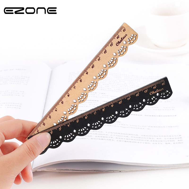 EZONE 1PC Sweet Lace Wooden Ruler Straight Wood Ruler Office School Supplies Kids  Kawaii Cute Stationery Sewing Ruler Papelaria