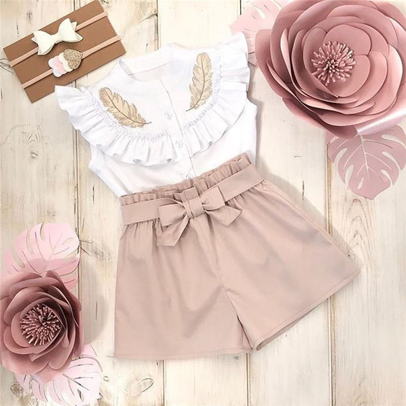 New Fashion Casual Ruffles Toddler Kid Baby Girls Petal Sleeve Outfits Button Tops T Shirt Short Pants Clothes Sets O-Neck