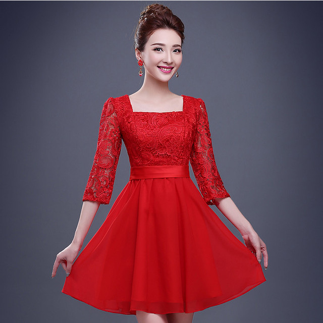 Red Knee Length Dress for Teens