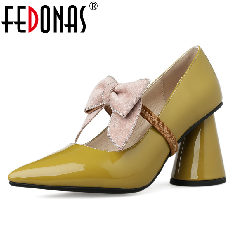 FEDONAS High Quality Genuine Leather Women Pumps 2019 New Arrival Classic Design Retro Strange Heels Spring Summer Shoes Woman-in Women's Pumps from Shoes    1