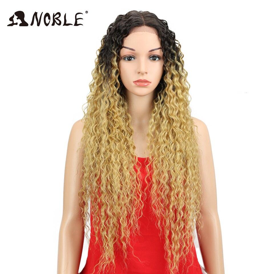 Noble Kinky Curly Mjuk Lång 30 tums Natur Svart Guld Snörning Fram - Syntetiskt hår - Foto 1
