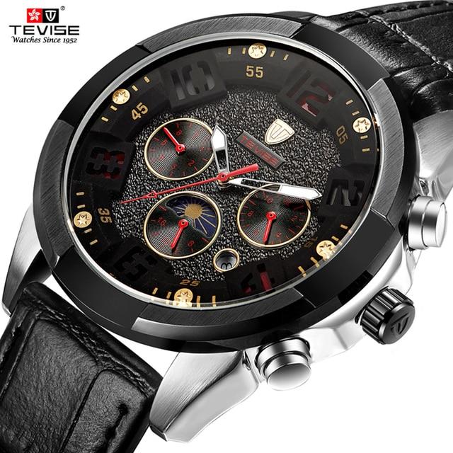 6387e651b1868d Top Tevise Luxus-modemarke Mechanische Uhr Mann Automatische mondphase Uhren  Lässige Wasserdichte Uhr Masculino Relogio