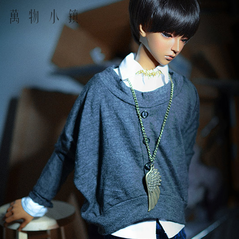 NEW BJD 1/3 1/4 SD MSD Doll Clothes Smoky gray Round collar sweater Bat sleeve Coat new handsome fashion stripe black gray coat pants uncle 1 3 1 4 boy sd10 girl bjd doll sd msd clothes
