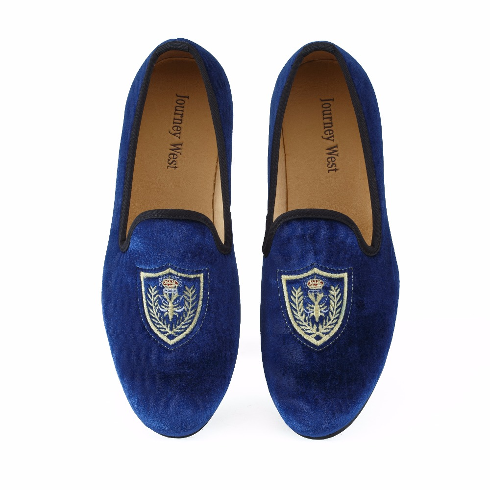 New Fashion Men Blue Velvet Loafers Casual Shoes Slip-on Mens Dress Shoes British Mens Flats Party and Wedding Loafer US 7-13