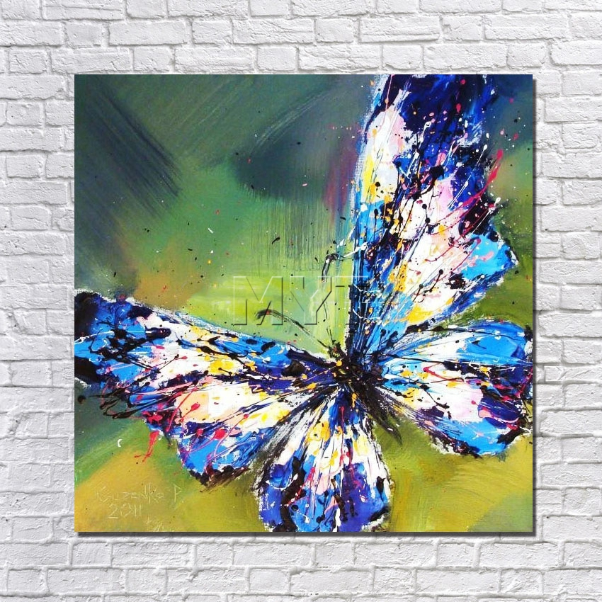 With Framed 380gsm Cotton Canvas Palette Knife Modern Flying Butterfly Oil Painting On Canvas Wall Art Picture For Home Decor