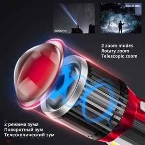 Image 4 - Linterna LED giratoria telescópica con zoom, luz lateral recargable, para acampada, carga teléfono
