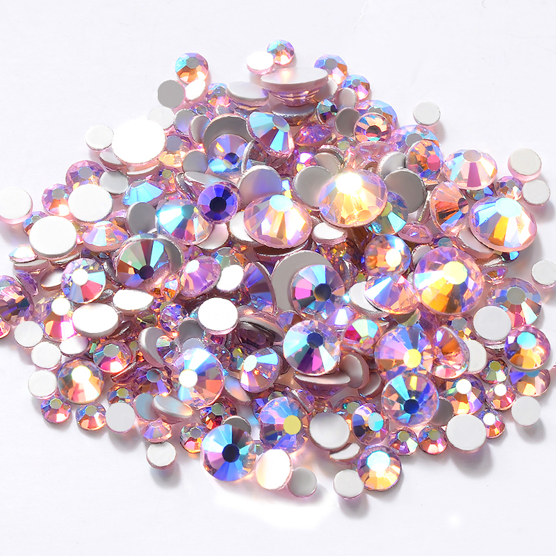PINK AB Color Charm Nail Art Rhinestones Decorations Glass Gems Crafts for Clothes Bracelet 3d Manicure Nail Accessories Tools mix rhinestones on nails opal crystals of opal rhinestones for nail glass gems 3d nail art strass ongle decorations mjz1025