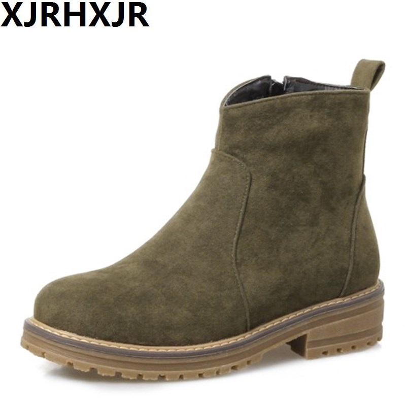 XJRHXJR All Match Suede Leather Ankle Boots Women Fashion Round Toe Side Zipper Low Heel Shoes Autumn Winter Martin Boots 33-43 2018 fashion cow leather zipper superstar winter boots women round toe low heel solid concise pregnant chelsea ankle boots l08