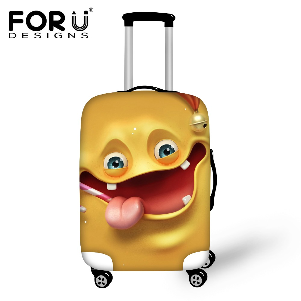 FORUDESIGNS Cartoon Emoji Travel Protective Cover For 18/20/22/24/26/28/30 Inch Trunk Ca ...