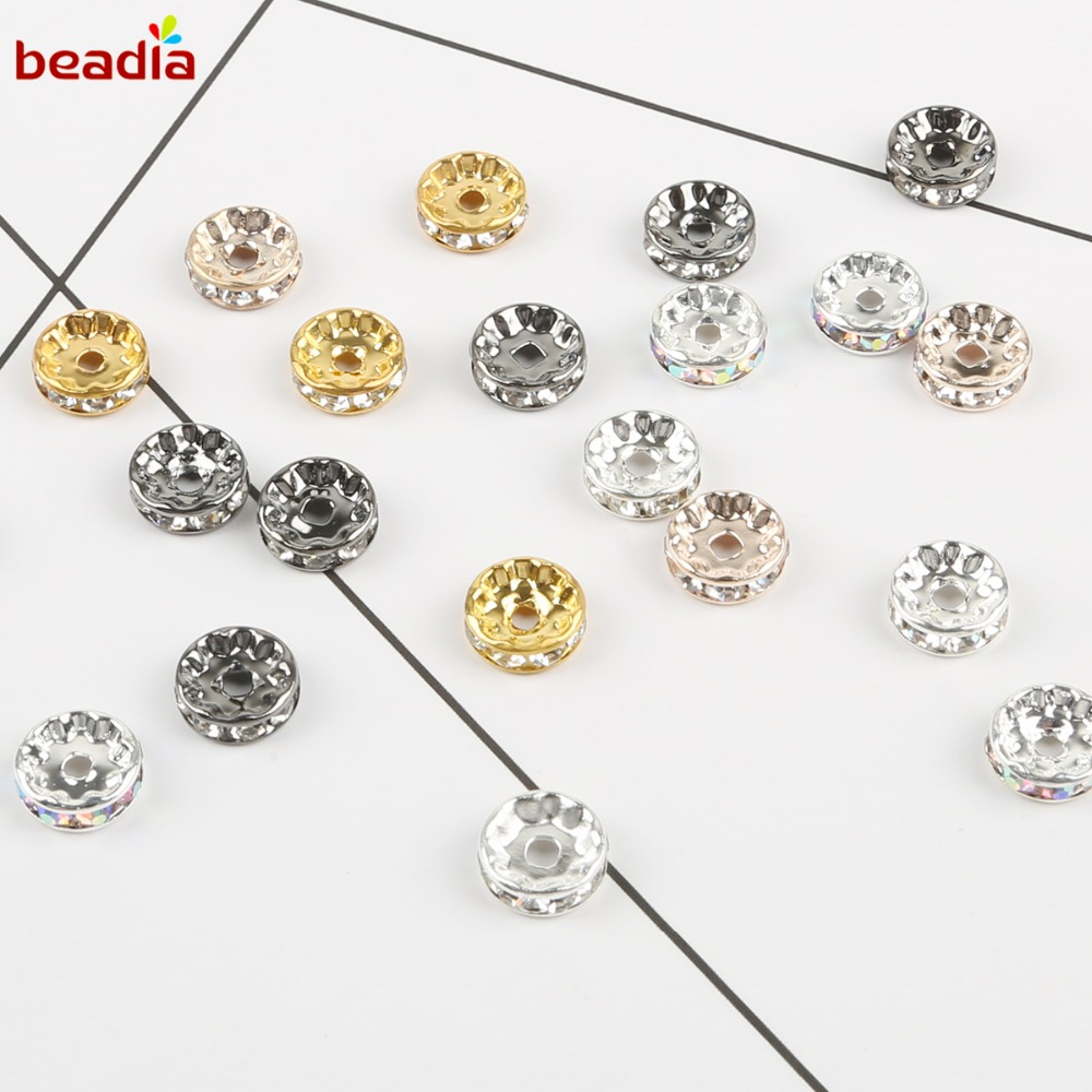 Silver /& Rose Gold Roud Disc Spacer Beads Wedding Or Gifts 20pcs 6mm Cute Gold
