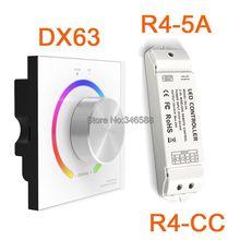 AC110V-240V DX63 Настенное Крепление 2.4 Г Беспроводной Синхронизации СИД RGB LED Контроллер с Ручкой Переключателя DMX512 Выходной & R4-5A R4-CC приемник