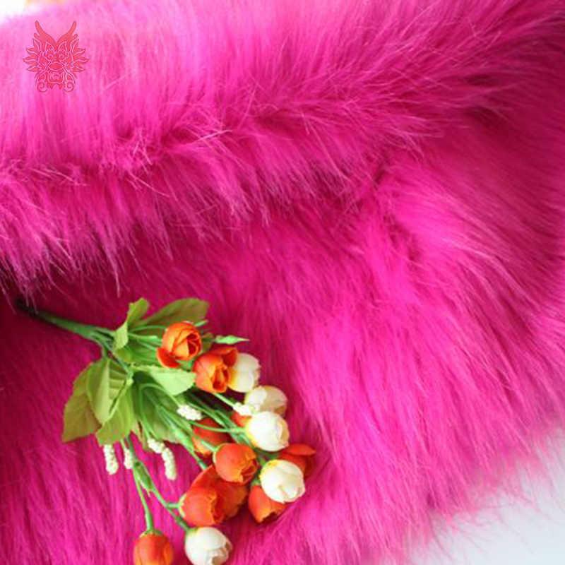 Alta calidad 7 cm Pelo Largo Rosa rojo piel sintética tela para abrigo de invierno, chaleco, cosplay etapa de decoración envío gratis 150*50 cm 1 pieza SP2576