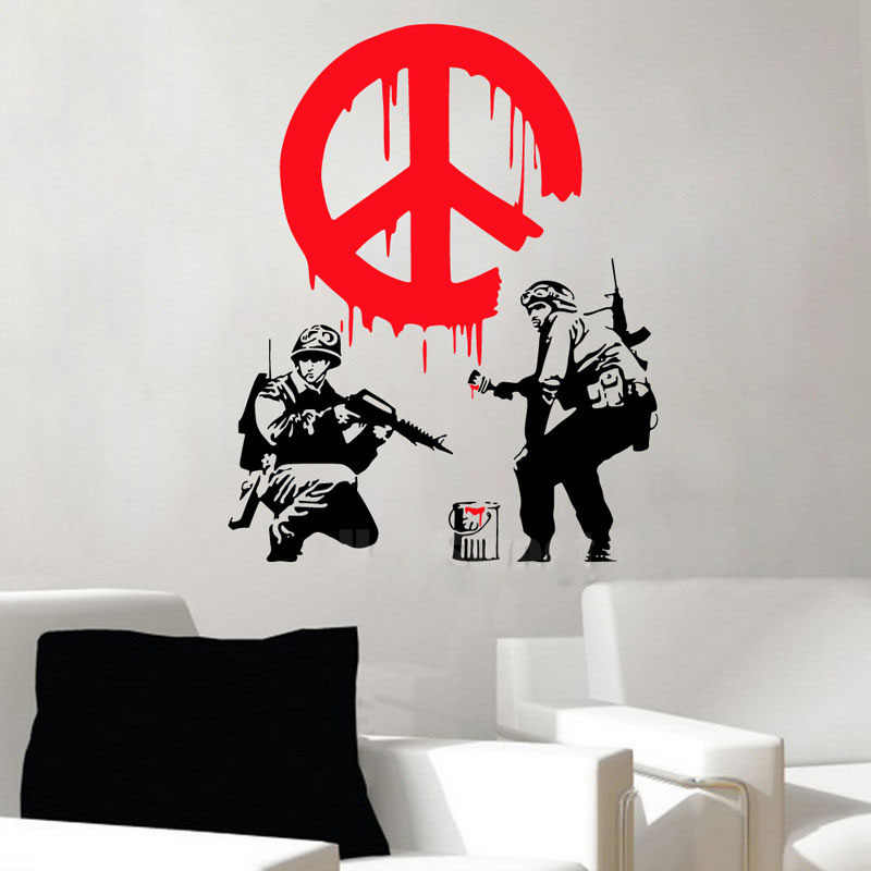 GY22 BANKSY CND Soldier Paint Warn Firemen Street Art Vinyl Wall Sticker Decal Graffiti Boy Personalise Home Decoration