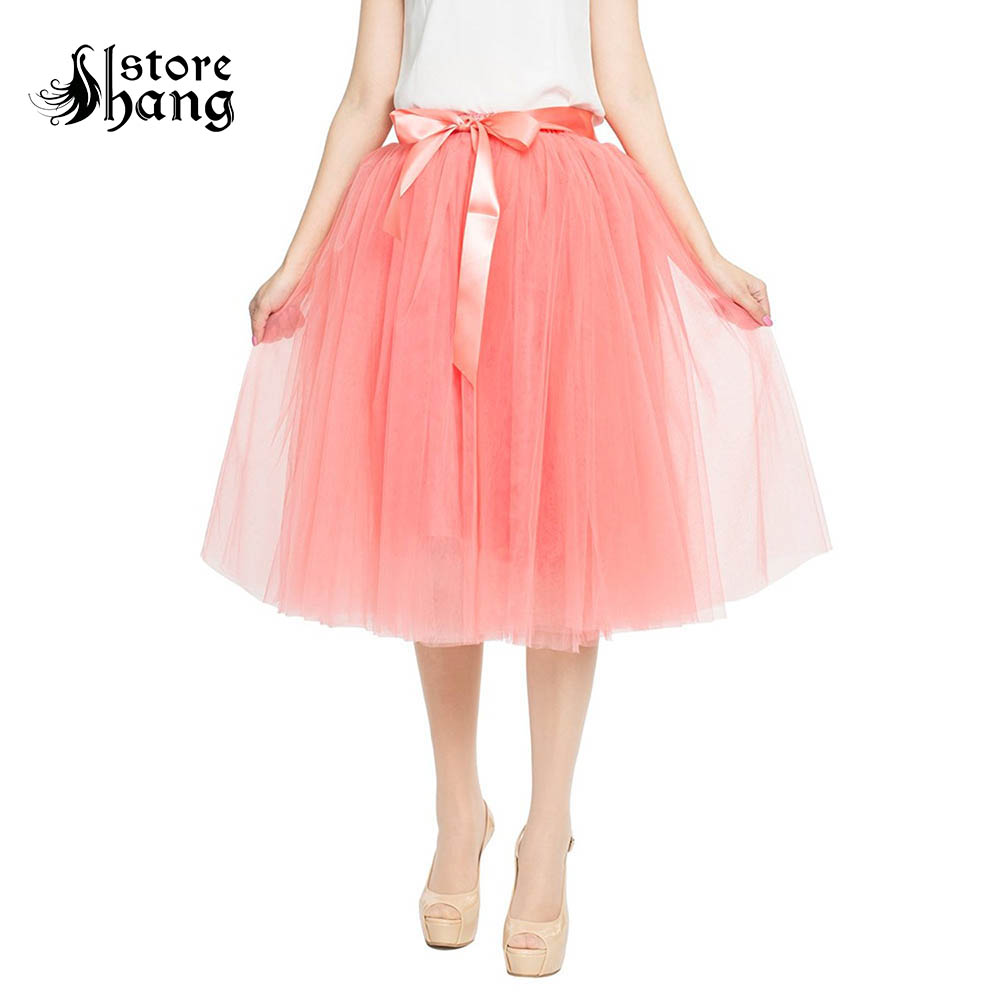 Women's High Waist Pleated Tulle Tutu Skirt Romantic A Line 65cm Knee Length 7 Layered Petticoat Skirt for Prom Party