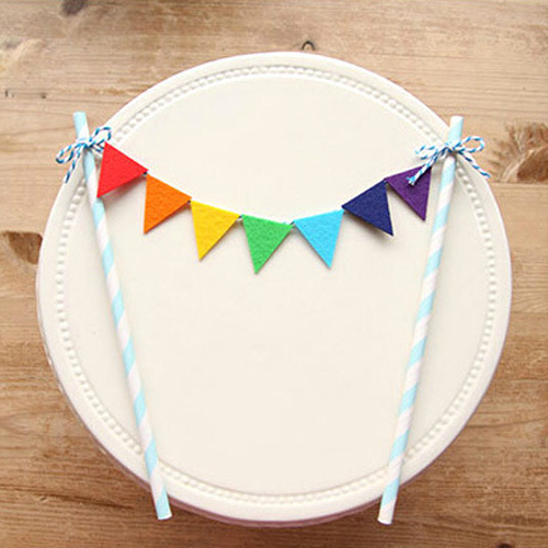 Free Shipping Rainbow Flags And Banners Cupcake Toppers Birthday Cake Topper Kids Party Supplies Baby Shower Girl