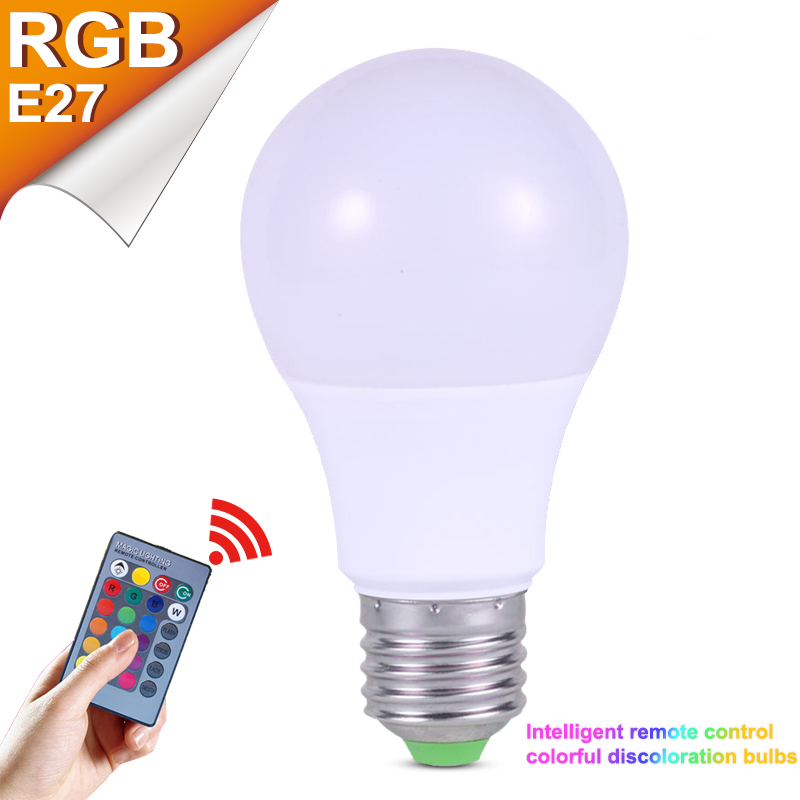 RGB E27 LED High Power Bright Bulbs Lamp 3W 5W 7W 220V LED Mini RGBW Globe Bulb Lampada Colorful With Remote Controller Light 3w led rgb high power led lamp bulbs rgb six legs 350ma 3 2 3 4v taiwan genesis hpo chips free shipping